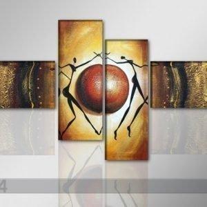Ed Neljäosainen Öljymaalaus Abstrakt 195x80 Cm