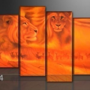 Ed Neljäosainen Seinätaulu Afrikan Leijonat 130x80 Cm
