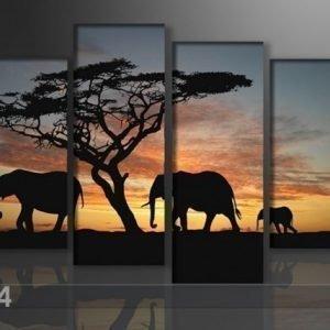 Ed Neljäosainen Seinätaulu Afrikka 130x80 Cm