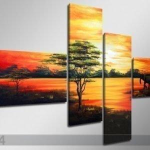 Ed Neljäosainen Seinätaulu Afrikka 160x70 Cm