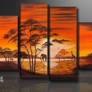 Ed Neljäosainen Seinätaulu Afrikka