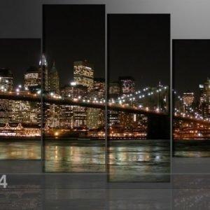 Ed Neljäosainen Seinätaulu Amerikan Valot 130x80 Cm