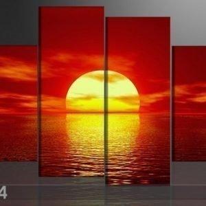 Ed Neljäosainen Seinätaulu Auringon Lasku 130x80 Cm