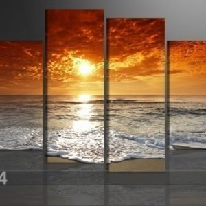 Ed Neljäosainen Seinätaulu Auringonlasku 130x80 Cm
