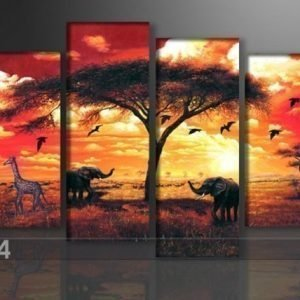 Ed Neljäosainen Seinätaulu Elefantti 130x80 Cm