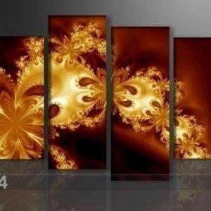 Ed Neljäosainen Seinätaulu Kultainen Fantasia 130x80 Cm