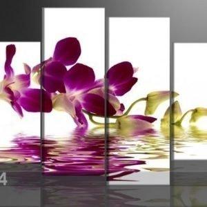 Ed Neljäosainen Seinätaulu Punainen Orkidea 130x80 Cm
