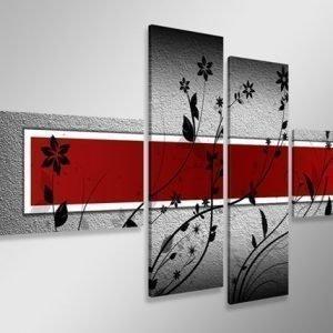 Ed Neljäosainen Seinätaulu Punainen SeinÄ 160x70 Cm