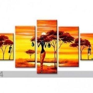 Ed Viisiosainen Seinätaulu Afrikka