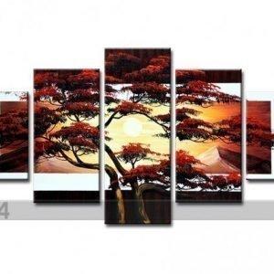 Ed Viisiosainen Seinätaulu Japanin Puu
