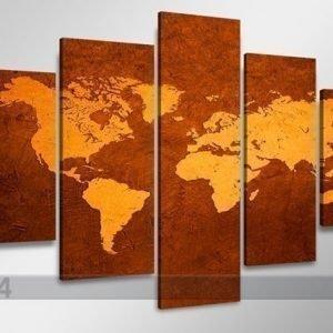 Ed Viisiosainen Seinätaulu Maailman Kartta