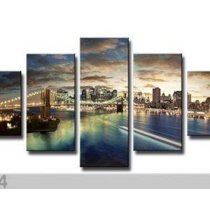 Ed Viisiosainen Seinätaulu New York 100x50 Cm
