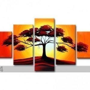 Ed Viisiosainen Seinätaulu Puu