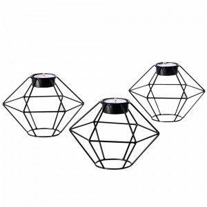 Ellos Diamant Kynttilälyhdyt Musta 3-Pakkaus