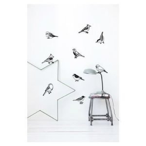 Ferm Living Drawing Birds seinätarra musta