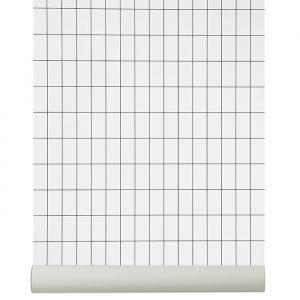 Ferm Living Grid Tapetti Musta / Valkoinen