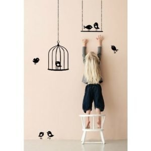 Ferm Living Tweeting Birds seinätarra musta