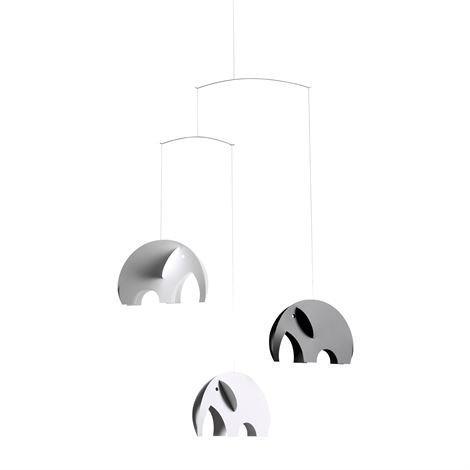Flensted Mobiles Olephant Mobile Musta-Harmaa-Valkoinen