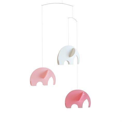 Flensted Mobiles Olephant Mobile Vaaleanpunainen-Valkoinen