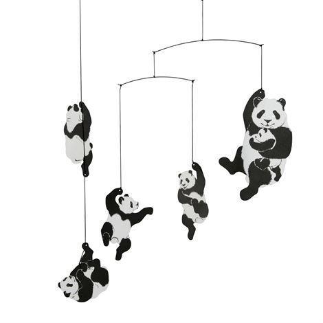 Flensted Mobiles Panda Mobile Musta-Valkoinen