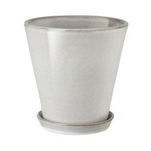 Granit Lasitettu Ruukku / Aluslautanen Valkoinen 20