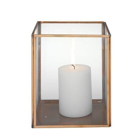 H. Skjalm P. Nelikulmainen Kynttilälyhty Lasi-Kupari 19 cm