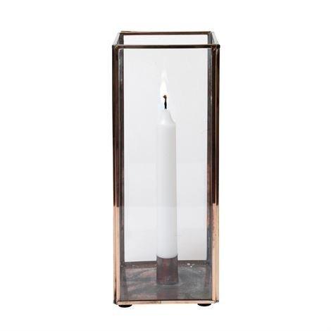 H. Skjalm P. Nelikulmainen Kynttilälyhty Lasi-Kupari 28 cm