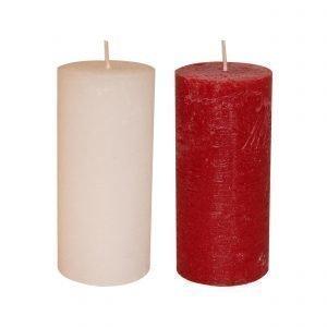 Hansa Candle Pöytäkynttilä Rustiikki Valkoinen / Rubiininpunainen 10 X 20 Cm