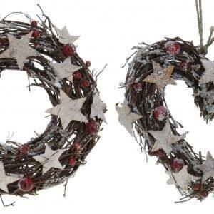 Joulukranssi Marja- Ja Tähtikoristeilla