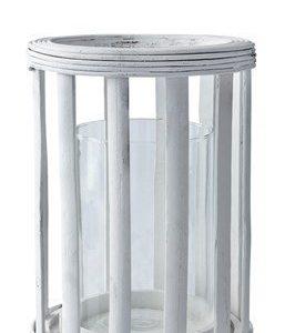 KJ Collection Hurricane Kynttilälyhty Bambu Valkoinen 24 cm