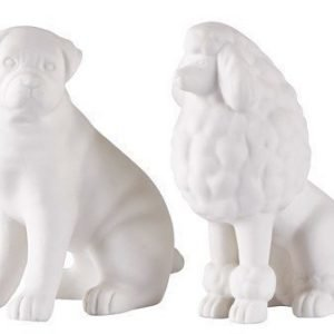 KJ Collection Koriste-esine Koira Keramiikka Valkoinen 16 cm