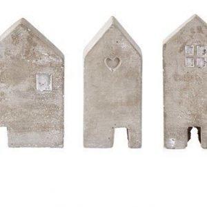 KJ Collection Koriste-esine Talo Sementti Harmaa 12 cm