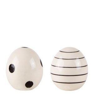 KJ Collection Koriste-esine porsliini Valkoinen/Musta 6 cm