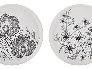 KJ Collection Kynttiläalusta Keramiikka Valkoinen/Kukallinen 16 cm
