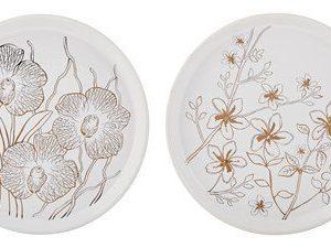 KJ Collection Kynttiläalusta Keramiikka Valkoinen/Kulta 16 cm