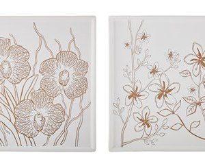 KJ Collection Kynttiläalusta Keramiikka Valkoinen/Kulta 30x30 cm