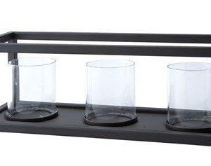 KJ Collection Kynttilälyhty 3 kynttilä Musta 10 cm