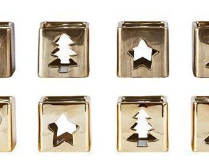 KJ Collection Kynttilälyhty Kermaik Kulta 6 cm