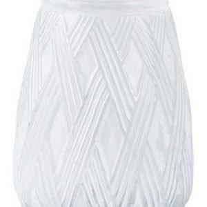 KJ Collection Kynttilälyhty Lasi Valkoinen 20 cm