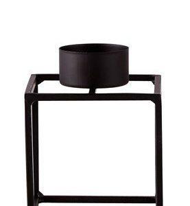 KJ Collection Kynttilälyhty Metalli Musta 10 cm
