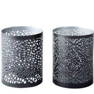 KJ Collection Kynttilälyhty Metalli Musta/Hopea 10