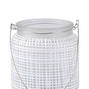 KJ Collection Kynttilälyhty kahvalla Metalli/Valkoinen 10 cm