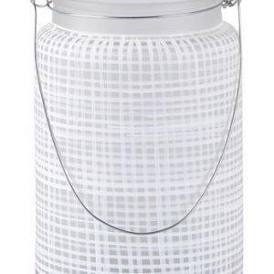 KJ Collection Kynttilälyhty kahvalla Metalli/Valkoinen 14 cm