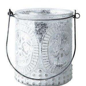 KJ Collection Kynttilälyhty kahvalla Valkoinen 10 cm