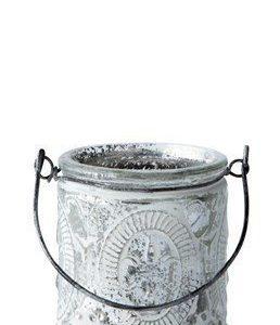 KJ Collection Kynttilälyhty kahvalla Valkoinen 7 cm