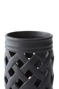 KJ Collection Kynttilälyhty kuvioilla Musta 10