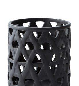 KJ Collection Kynttilälyhty kuvioilla Musta 12 cm