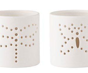 KJ Collection Kynttilälyhty kuvioilla porsliini Valkoinen 7 cm