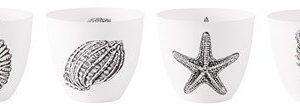 KJ Collection Kynttilälyhty porsliini Valkoinen/Musta 8 cm
