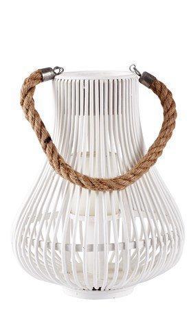 KJ Collection Lyhty remmillä Valkoinen 28 cm
